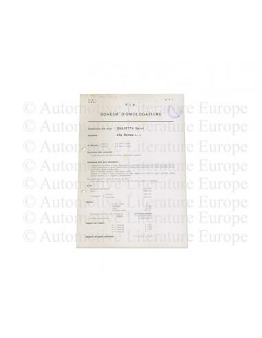 1955 ALFA ROMEO GIULIETTA SPRINT F.I.A. HOMOLOGATION SHEET ITALIAN