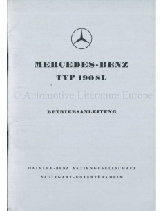 1959 MERCEDES BENZ 190 SL OWNER'S MANUAL GERMAN
