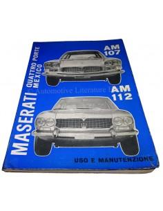 1969 MASERATI QUATTROPORTE I & MEXICO OWNER'S MANUAL ITALIAN